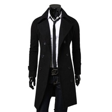 NEW Top Quality Fashion Brand Autumn Jacket Long Trench Coat Men Slim Black Male Overcoat Mens Khaki Coat trenchcoat Windbreaker(China)