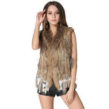Hot Real Knitted Rabbit Fur Vest with Raccoon Fur Collar Women Gilet Fashion Spring/Autumn Waistcoat with Tassels AU00003(China)
