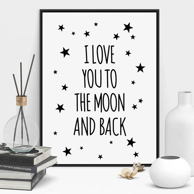 I Love You To The Moon And Back Quote Canvas Star Art Print Poster Kids Room Wall Picture Living Room Painting Poster Home Decor(China (Mainland))