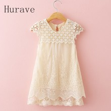 Hurave Fashion 2017 Girl Summer Style Children Casual Lace Dress Girl Cute Kids Dresses Baby Girl Clothes
