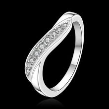 Free Shipping 925 jewelry silver plated Jewelry Ring Fine Fashion Silver Plated Zircon Women&Men Finger Ring SMTR159