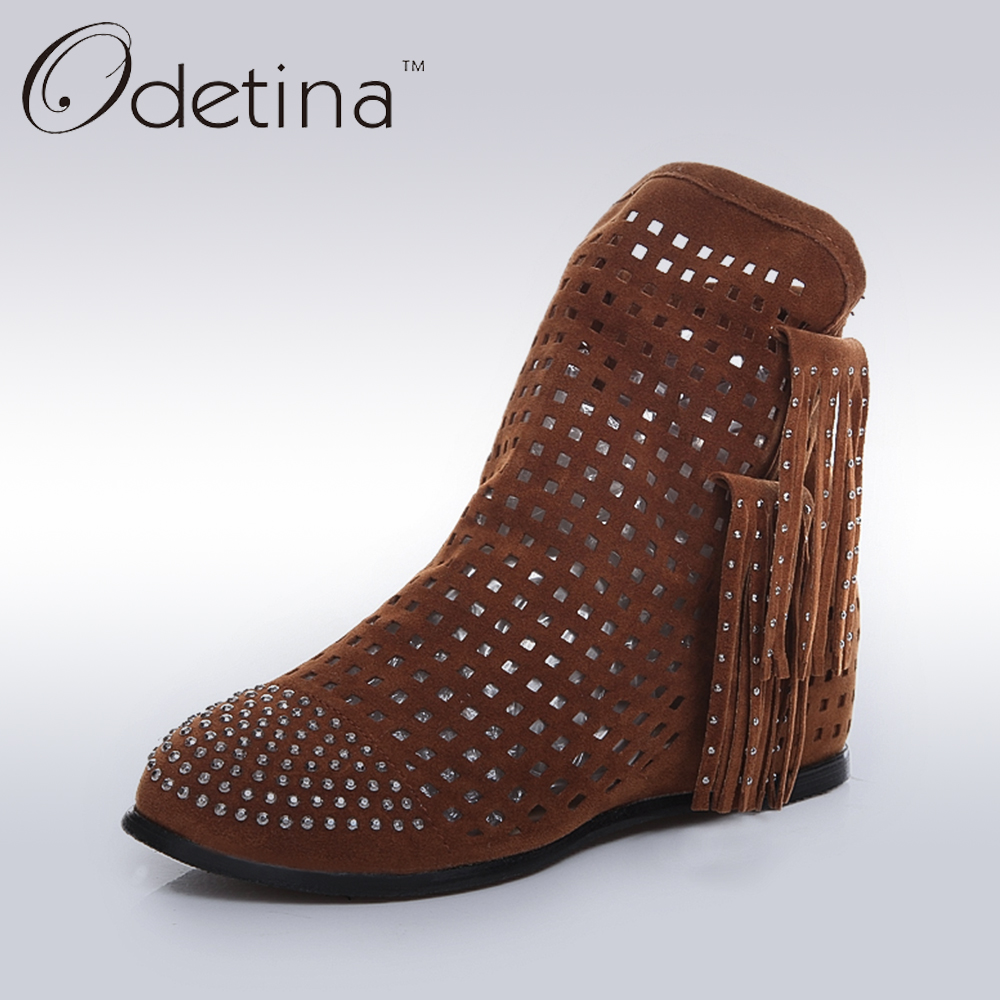 Odetina Spring Women Slip on Taseels Ankle Booties Fashion Hollow Summer Shoes with Rhinestones Height Increased Ladies Shoes<br><br>Aliexpress