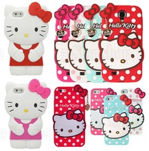 Wholesale Hot 3D Cartoon Luxury Classic Hello Kitty Cat Rubber Phone Bags Soft Silicone Case for iphone 5 5s /4 4s/ 6 6s/ 6 plus(China)