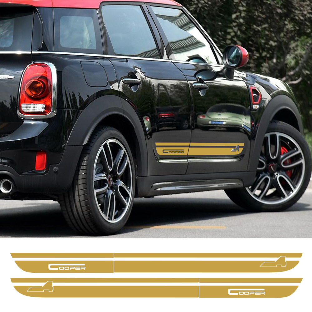 Pair of Door Side Stripes Skirt Sill Decal Stickers for Mini 2nd Generation Countryman F60 2017-Present Cooper All4 Graphics <br>