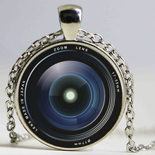Vintage art photo pendant necklace Camera Lens Necklace Bronze Chain Jewelry Gift Glass Cabochon Necklaces(China)