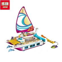 Lepin 01038 651pcs Friends Sunshine Catamaran Dolphins Olivia Stephanie Girl Building Block Compatible 41317 Brick Toy(China)