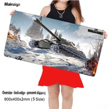 Mairuige World of Tanks 900*400mm white Laptop Gaming Locking Edge Mousepad Mat for LOL Dota2 CS Mouse Mice Pad for Game Player(China)
