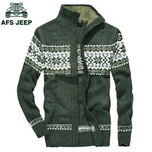 AFS JEEP High Quality Mens Cardigans Sweaters Men Winter&Autumn Sweater Tops Stand Collar Men Slim Casual Dress Knitwear(China)