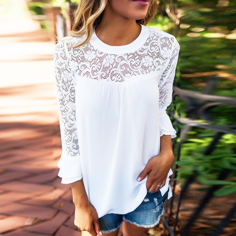 2018 ZANZEA Summer Women Blouse Elegant Lace Shirt O Neck Long Sleeve Patchwork Solid Beach Party Chiffon Shirt Loose Blusas 9