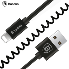 Baseus 1.6M Elastic Retractable Cable For Lightning Data Sync Charge Spring Cord Cable For iPhone 7 6 6S Plus 5 5S SE iPad iPod