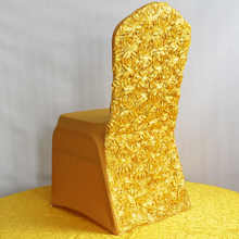 Yellow Chair Cover Wedding Decoration Polyester Spandex Dining Covers For Gold Christmas Banquet Party