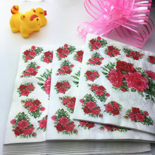 HEY FUNNY 40 Pcs/lot Red Flowers Wedding Paper Napkins For Decoupage 100% Virgin Wood Tissue For Party Decoration
