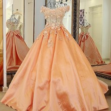 2017 A line Elegant Scalloped Evening Dresses Long Appliques Bridal Gown Orange Party Prom Dresses Robe De Soiree Real Photos