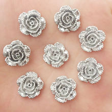 Buy New 20pcs 14mm Resin Silver Rose Flatback Stone Scrapbook Wedding DIY Craft D736 for $1.98 in AliExpress store