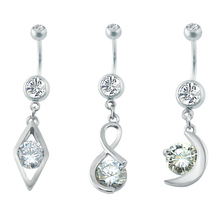 Belly Button Rings with Cz Zirconia Pendant Dangle Navel Belly Ring Fashion Women Stainless Steel Nail Piercing Nombril Jewelry
