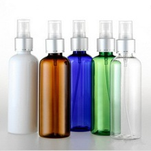 50pcs/lot 100ml Atomizer Perfume Liquid Bottle Empty PET Spray Bottle With Anodized Aluminum Cap Round Shoulder Plastic Bottle