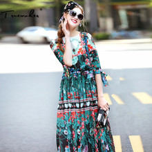 Truevoker Summer Designer Maxi Long Dress Women's High Quality Short Sleeve Vintage Fancy Flower Printed Resort Dress