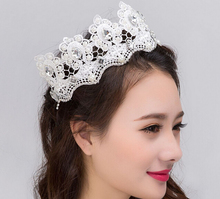 Luxury pearl bridal tiara crown vintage white lace flower fashion wedding bridal tiara headwear hair acessories 2016 new
