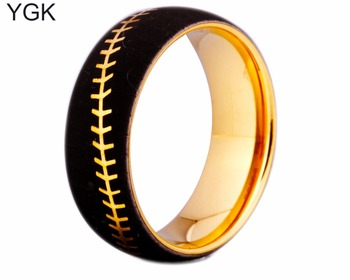YGK 8MM Width Golden Plated Dome Tungsten Ring Baseball Stitch Design Ring For Wedding 100% Pure Tungsten Ring