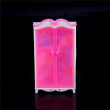 TOYZHIJIA 1PCS Princess Bedroom Furniture Closet Wardrobe For Barbie Doll Pink Wardrobe Closet For Barbies Doll Girls Toy(China)