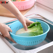 QuickDone 1Pc Plastic Single Drain Basket Round Hollow Fruit Vegetable Cleaning Strainer Storage Baskets Kitchen Tool AKC6090(China)