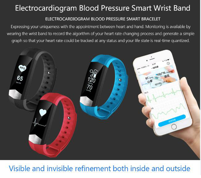 CD01 Graphene ECG HeartRate Blood Pressure Smart Bracelet for iphone Android Sleep Pedometer Activity Tracker Call SMS Reminder 4