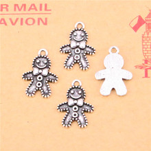 35pcs Tibetan Silver Plated gingerbread man cookies christmas Charms Pendants for Jewelry Making DIY Handmade Craft 18*12mm