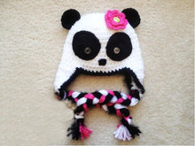 Newborn Baby girl Crochet Knit panda beanie Hat in white and black nb gift baby Photo Prop(China)