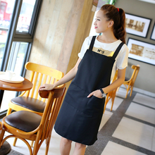 Sleeveless cotton apron kitchen hotel nail coffee tea shop work wear overalls waiter customize free logo print