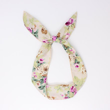 New Style Bunny Rabbit Ears Chiffon Wrap Bow Bowknot Rose Pattern Hair Band Headband Wire Bendy Headdress Accessories(China)
