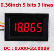 "by dhl/fedex 100Pcs 0.36"" 5 bits  Digital Voltmeter DC 0-33.000V Red LCD display Vehicles Motor Voltage Panel Meter"