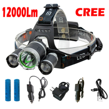 Rechargeable 12000Lm xm-L2 Led HeadLamp Headlight torches flashlight Fishing Light+2*18650 battery+Car EU/US/AU/UK charger+USB