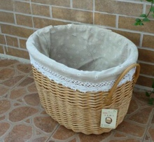 Free shipment Big wicker storage baskets willow hampers with faric linings home storage box for sundries