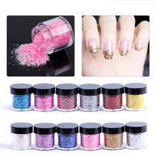 10g Shiny Nail Glitter Sequin WithGlitter Powder Nail Art Powder Dust Fairy Dust Makeup Manicure Nail Decoration With Brush