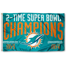 Miami Dolphins 2 Time Super Bowl Champions Sports Banner Basketball Flag 3' x 5' Custom Hockey Baseball Football Flag