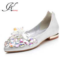 KSJYWQ Crystal diamonds Women flats Genuine leather oxford shoes for women Spring Sexy ladies Wedding Shoes Box Packing 7070