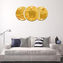 Silver / Gold Round Acrylic Mirror Background Wall Sticker Bedroom Decoration 3D reflecting mirror stickers(China)