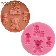 DIY Rushed Cartoon Teddie Bear 3d silicone mold Fondant Figure Candy Jello Cake Decorating Tools Silicone Soap Mould C1787