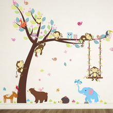 Wall Paper Swing Monkeys on the Tree Wall Stickers Removable Vinyl Decal Kids Baby Decor(China)