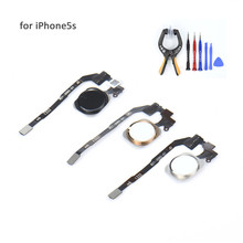NEW Home Button Flex Ribbon Cable Assembly For iPhone 5S Gold Silver and Dark GrayReplacement Repair part Fast shipping