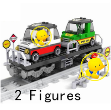 AUSINI Train Building Blocks compatible with lepin train rails trafic blocks Educational model toys hobbies for children