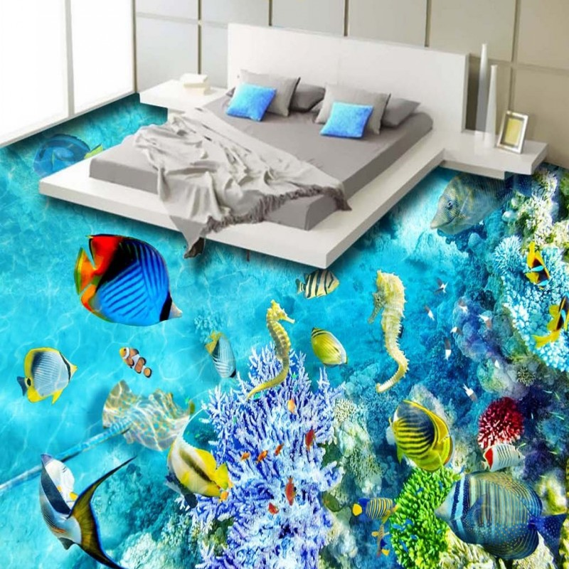 Free Shipping thicken self-adhesive floor wallpaper 3D Underwater World Tropical Fish hallway Floor mural<br>