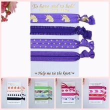 4 pcs per set 40 pcs per lot (10 sets) FOE fold over elastic hair ties with card, welcome custom printed(China)