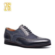 2017 Men Casual Shoes Z6 brand Handmade breathable comfortable jeans PU Brogue men shoes #W6653
