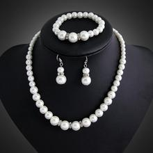 danbihuabi Fashion Silver Color Clear Crystal Rhinestone Costume Imitation Pearl Jewelry Sets for Women Wedding Accessories
