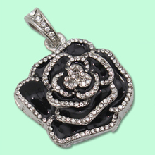 Black Rose Luxury Jewelry Usb Flash Drive 32GB Computer Pendrive Pen Drive 64GB Flash Drives Lovers Gift Gifts Necklace Chain