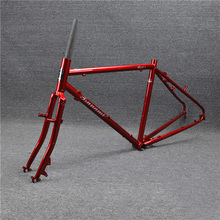 TSUNAMI CR-MO 700c Touring Frameset Road Bike Cyclcross Frame Fork Disc V Cantilever Brake Classic 49cm 52cm Red color