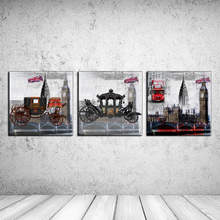 "3pcs Painting about ""Classic cars and bus"" combination modern oil painting wall pictures for living room wall wtickers RZ-JED038(China)"
