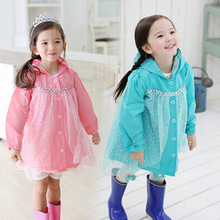 Girls Rain Coat 2017 Impermeable Hot Pink Children Raincoat Hot Sale Rainwear Princess Girls Hooded Rain Coat Kids