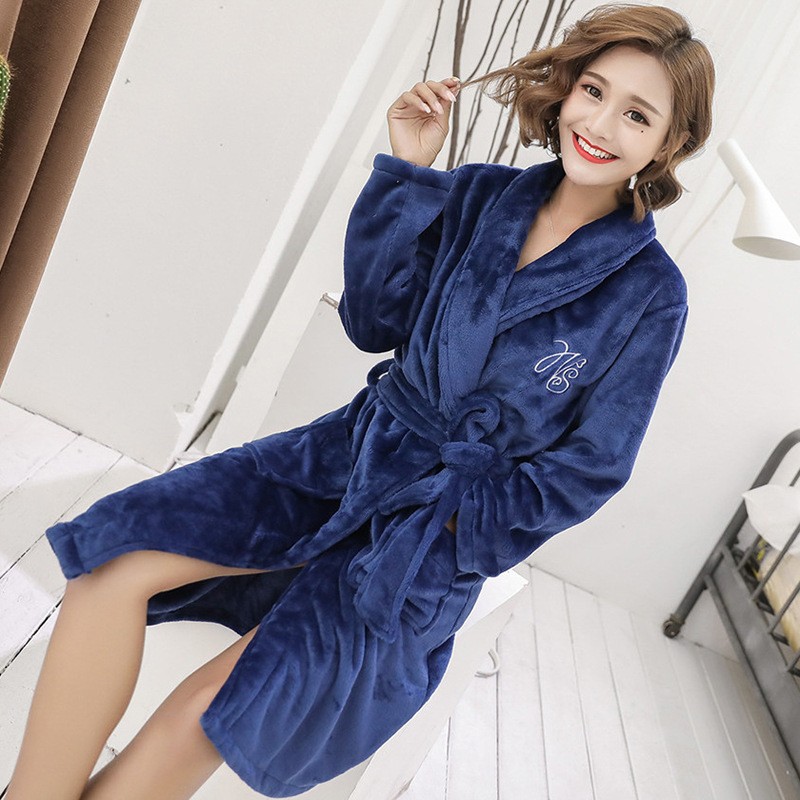 Bath Robe Women Flannel Dressing Gown 2019 Autumn Winter Solid Female Robes Plush Bathrobe Thick Warm Roupao Feminino MA50139